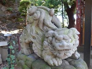 品川神社 くも狛犬